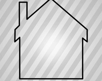 house-silhouette - Dxf, Svg, Eps, Rld, RDWorks, Pdf, Png and AI Print Files, Digital Cut, Vector File, Svg File