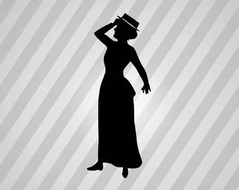 Lady Silhouette - Svg Dxf Eps Silhouette Rld Rdworks Pdf Png Ai Files Digital Cut Vector File Svg File Cricut Laser Cut