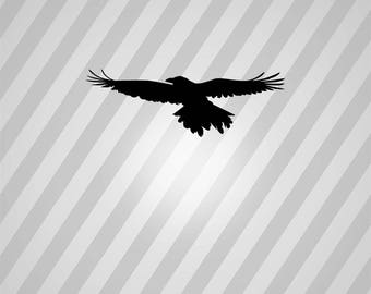 flying raven Silhouette - Svg Dxf Eps Silhouette Rld RDWorks Pdf Png AI Files Digital Cut Vector File Svg File Cricut Laser Cut