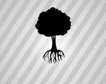 tree with roots Silhouette - Svg Dxf Eps Silhouette Rld RDWorks Pdf Png AI Files Digital Cut Vector File Svg File Cricut Laser Cut