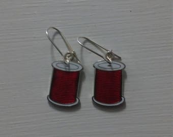 Red Spool Earings