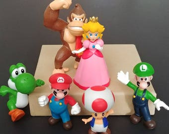 6pc. Mario Classic Characters Mini Figures Toys Cake Toppers Party Favors ~ Birthday Party Supplies Cupcake Toppers