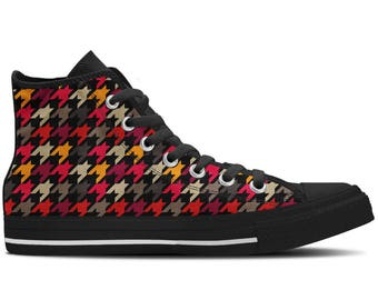 Women's High Top Sneaker with Evergreen Pattern 'Houndstooth' - Multicolored/Black