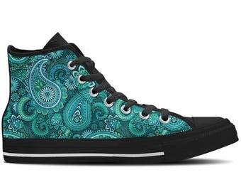 Women's High Top Sneaker with Paisley Print 'Paisley' - Teal