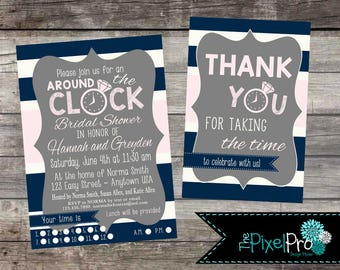 Around the clock bridal shower invitation, time of day bridal shower announcement, pick a time bridal shower invite, assigned time shower