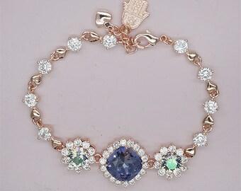 Purple Bridesmaid Bracelet, Rose gold bracelet ,crystal bracelet,Swarovski crystal bracelet,Lavender Bracelet, Violet Bridesmaid Jewelry