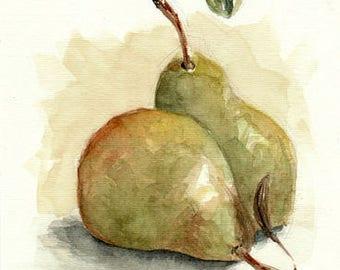 Original watercolor painting / Kitchen art / Pears