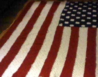 Listing 198 is an american flag afghan all 50 stars
