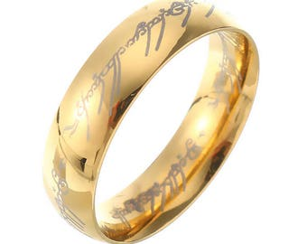 18k gold plated lord of the rings stainless steel lotr finger ring for unisex - Lord Of The Rings Wedding Band