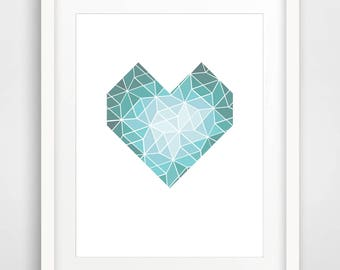 Geometric Heart, Geometric Print, Art Printable, 3d Print, Printable Art, Geometric Art, Heart Wall Print, Wall Art, Art, love