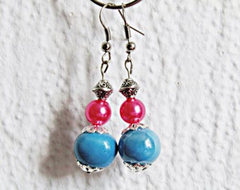 Earrings Oriental fancy blue and pink