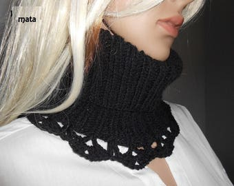 black wool SNOOD Scarf
