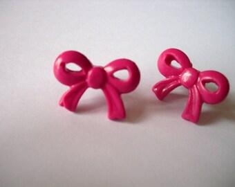 """""""flea"""" knot earrings polymer clay raspberry"""