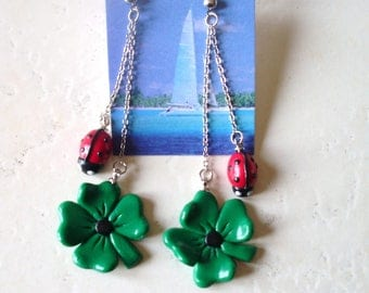 studs, ladybug and clover in polymer clay earrings