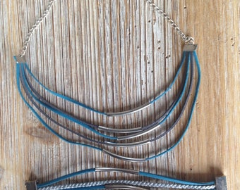 Set (necklace and bracelet) leather turquoise and silver