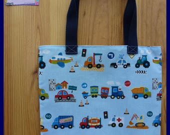 """""""My tractor, my truck"""" bag for the nursery or the nursery school, fully lined."""