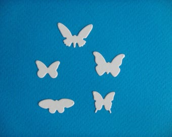 White set of 5 butterflies for scrapbooking and card