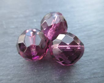 Faceted Bohemian 14 mm: 3 amethyst beads
