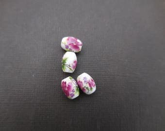 Ceramic olive White Pearl and plum 10 mm * 8 mm in packs of 5