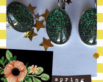 Earring Stud and ring free shipping oval green glitter