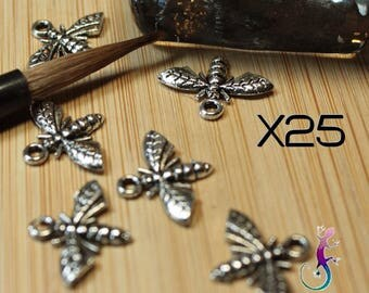 25 charms 14x17mm silver-plated bee charms