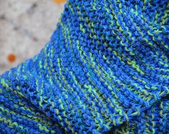 Scarf knitted blue/green wool/acrylic