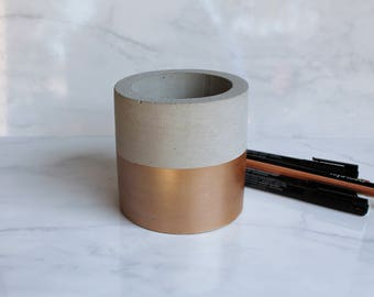 """Concrete Cylinder Pot - Large Geometric Pencil Holder or Planter - 4"""" Tall - Metallic Stripe - Rose Gold, Champagne Gold, or Copper"""
