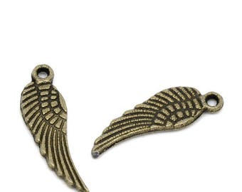 Set of 40 charms wing pendant bronze