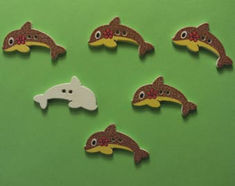 SET of 6 wood buttons: Dolphin Brown 29 * 15mm