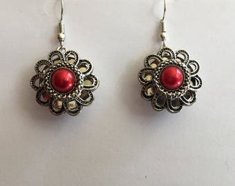 Interchangeable earrings snaps filigreed silver cabochon round Burgundy head pressure 5.5 mm