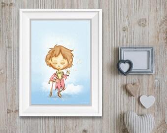 Affiche pour enfant , bébé, fantastique, fantasy,gothique, deux impressions possibles, format a4