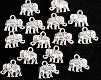 6 charms elephants 3D silver-plated nickel and lead free