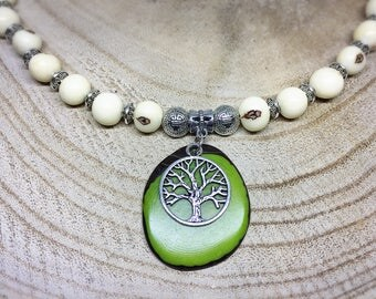 Choker ethnic tagua and acai ivory and green tree of life