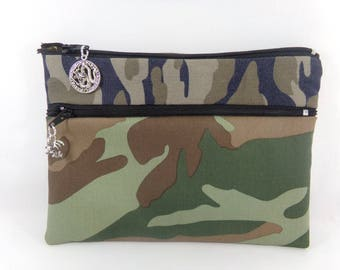 Double Kit multi-purpose military pattern for men or women, to store paper, iphone, smartphone, makeup, makeup...