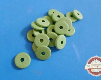 20 ethnic washers 2x13mm green ceramic beads