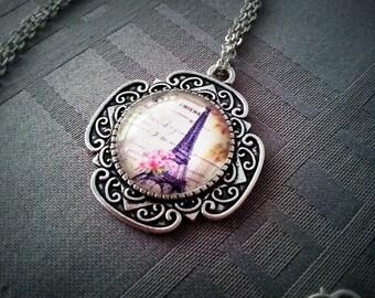 Eiffel Tower romantic, Paris motif, antiqued silver 20mm glass cabochon necklace
