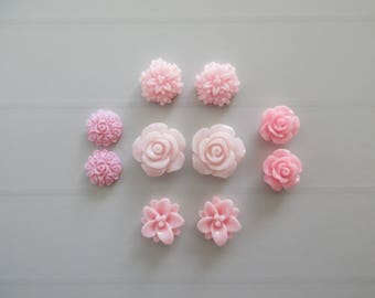 10 cabochons resin flowers paste pink