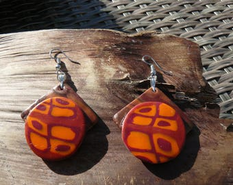 "Pair of earrings ""in the colors of autumn"" look polymer clay beads abstract patterns and wood"
