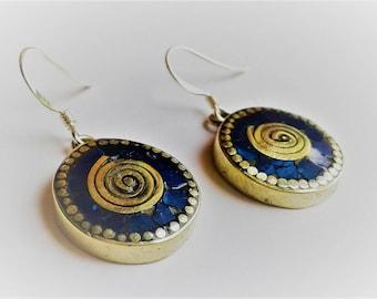 Earrings ethnic Nepal Tibetan - Lapis Lazuli - ethnic-style jewelry