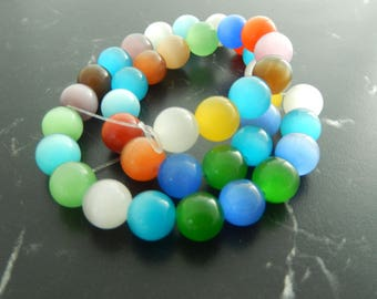 10 multicolor 10mm cat eye beads