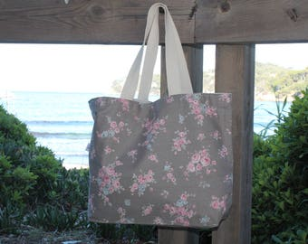 Tote / bag taupe flowers pink