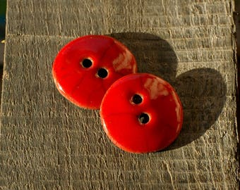 Designs buttons - set of 2 red buttons