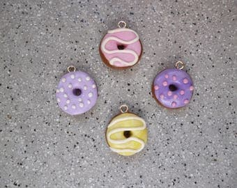 4 charms donuts made of polymer clay without mold 16 mm approx