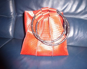 handbag genuine leather red/burgundy print croco imitation
