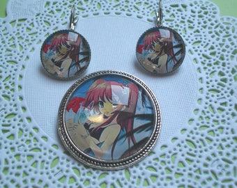 set brooch and Earring manga