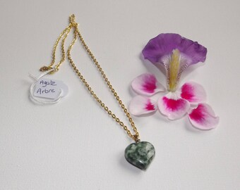 tree agate heart pendant and gold chain.