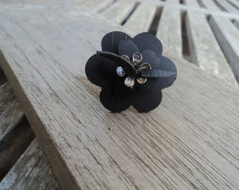 Flower ring in inner tube recycled and silver tone metal