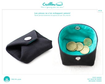 """Wallet """"Stone/28"""" black and blue/green"""