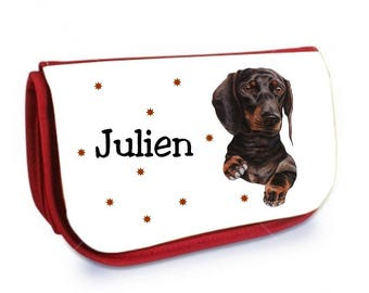 Red Dachshund /crayons make-up case personalized with name