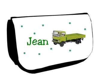 Cosmetic case Black /crayons green truck personalized with name